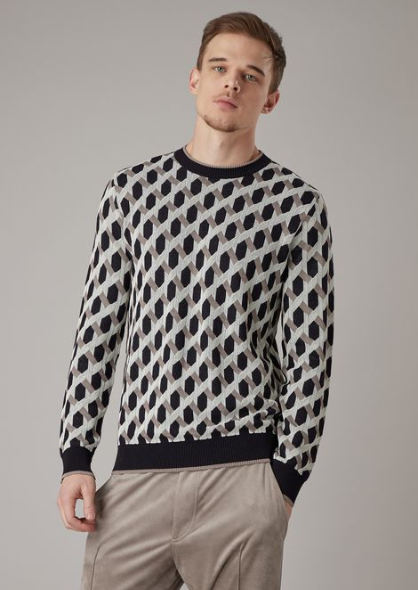 Crew-neck sweater in jacquard fabric with raised weave motif