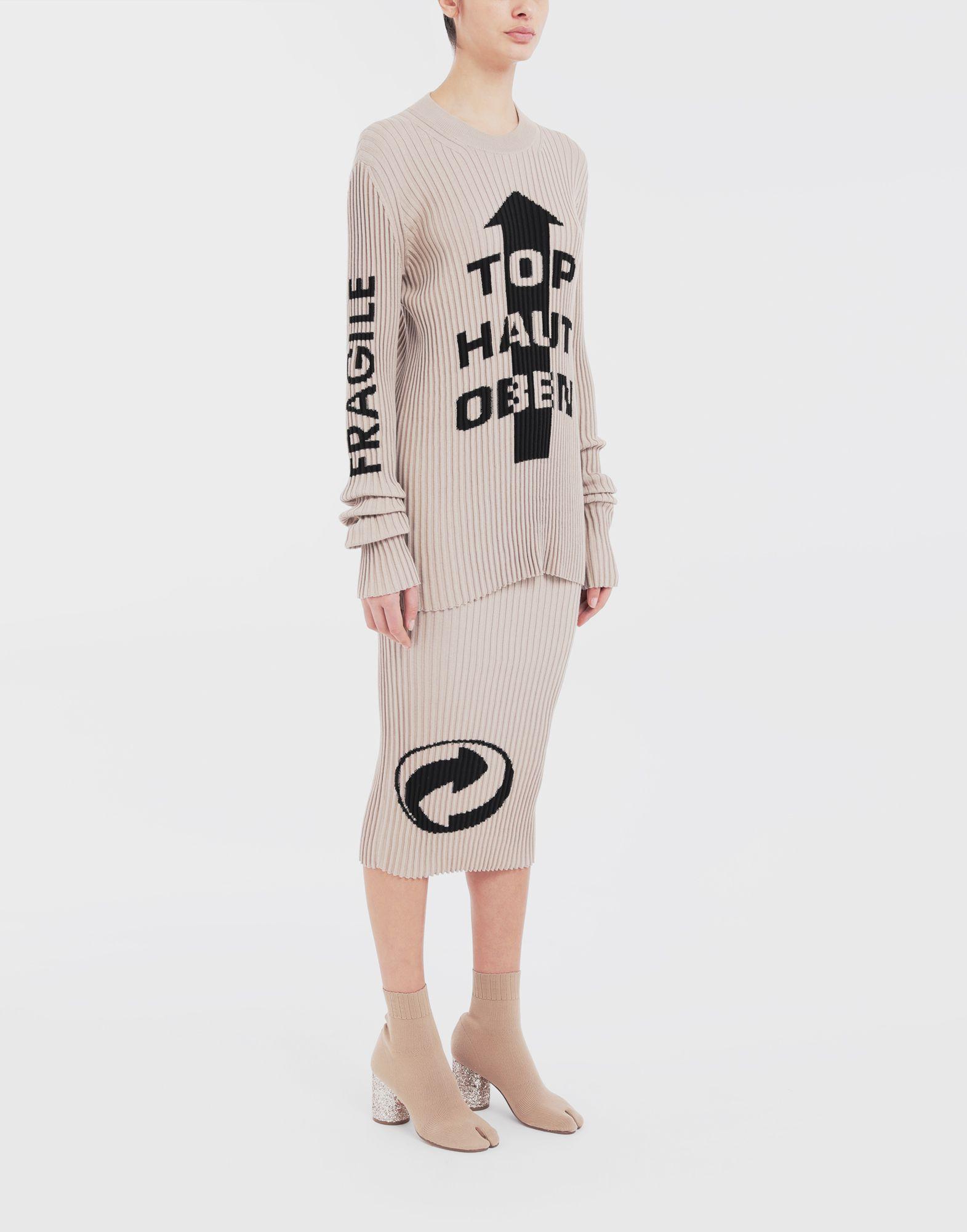 MAISON MARGIELA Ribs jumper in 'Carton' intarsia Long sleeve sweater Woman d