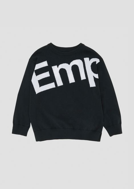 Crew neck sweater with embroidered logo front and back
