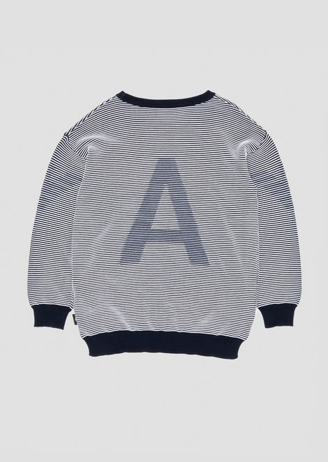 Striped crew neck sweater with EA logo