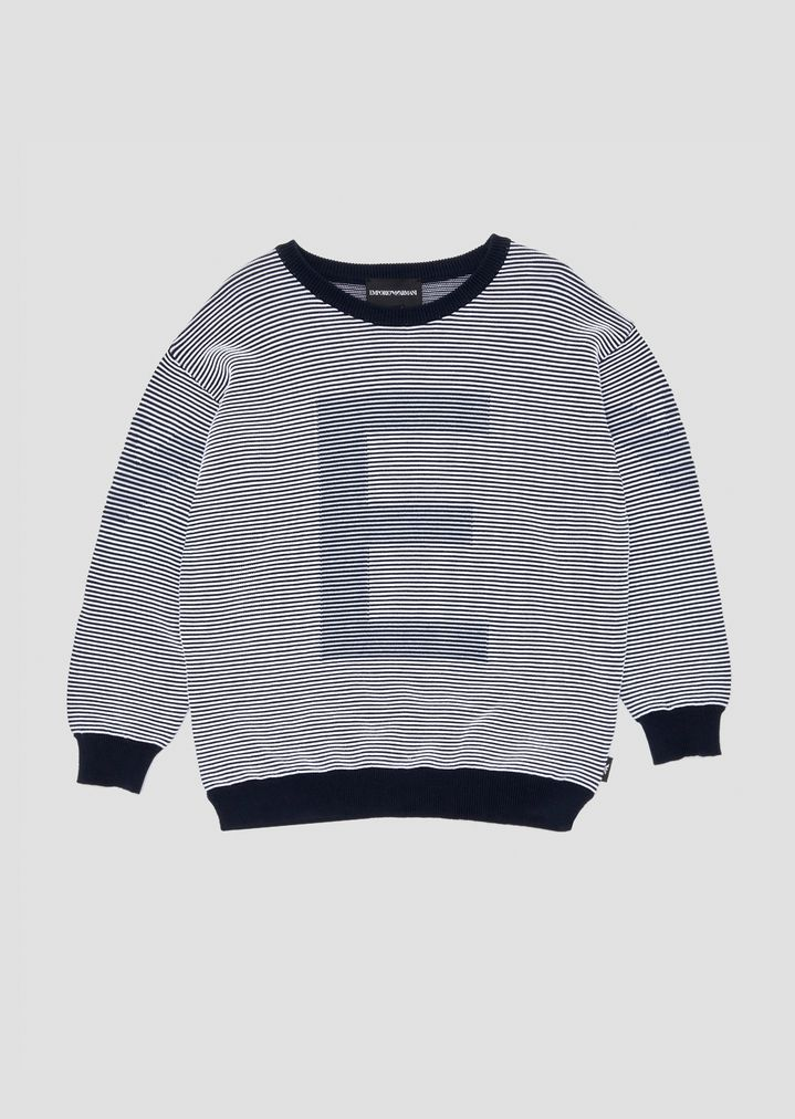 df2018469f Striped crew-neck sweater with EA logo