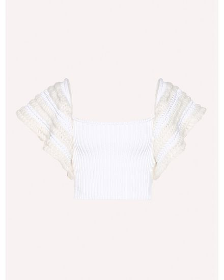 Cotton crochet knit top
