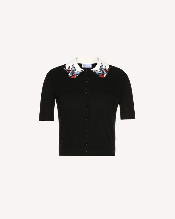 REDValentino Cotton cardigan with swallow bird patches
