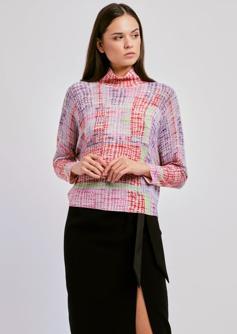 Multicolor cashmere sweater with wide collar