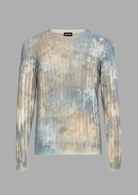 Sweater in raised-stitch fabric with micro rectangles and airbrushed print