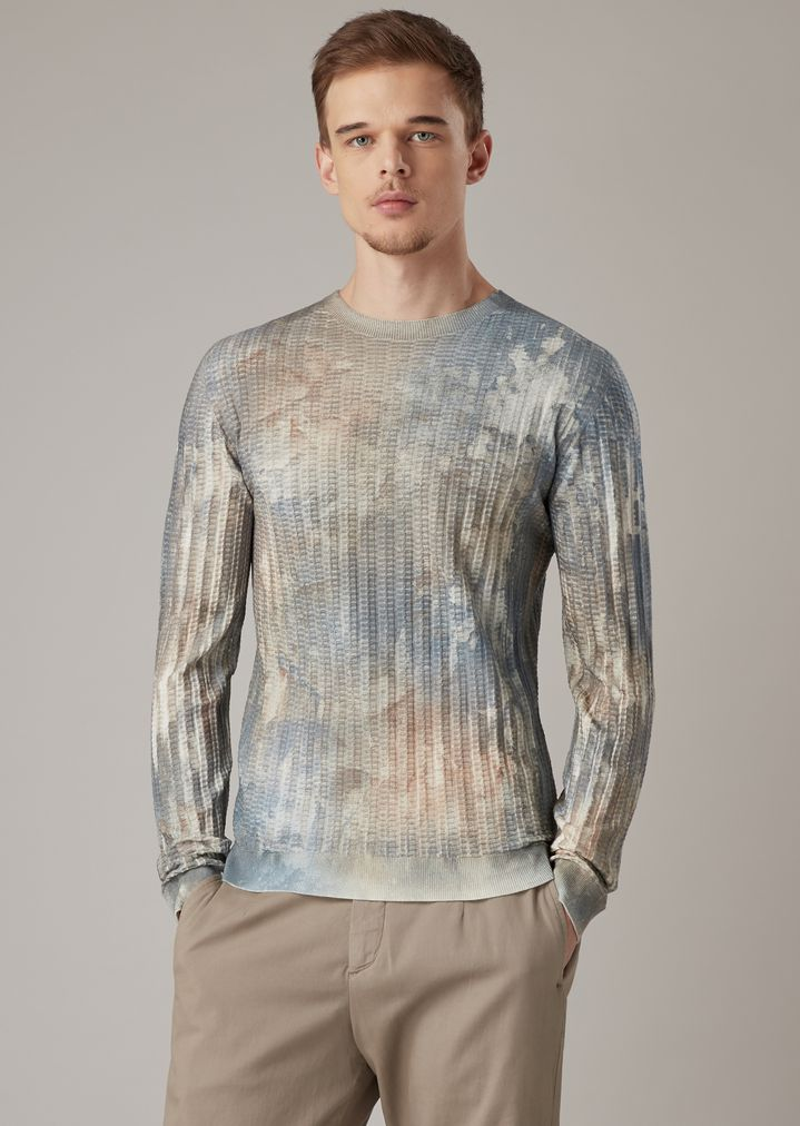 f1e682de59 Sweater in raised-stitch fabric with micro rectangles and airbrushed print