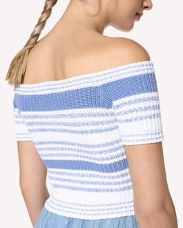 REDValentino Striped cotton knit top