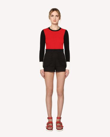 REDValentino Baumwollpullover in Colourblock-Optik