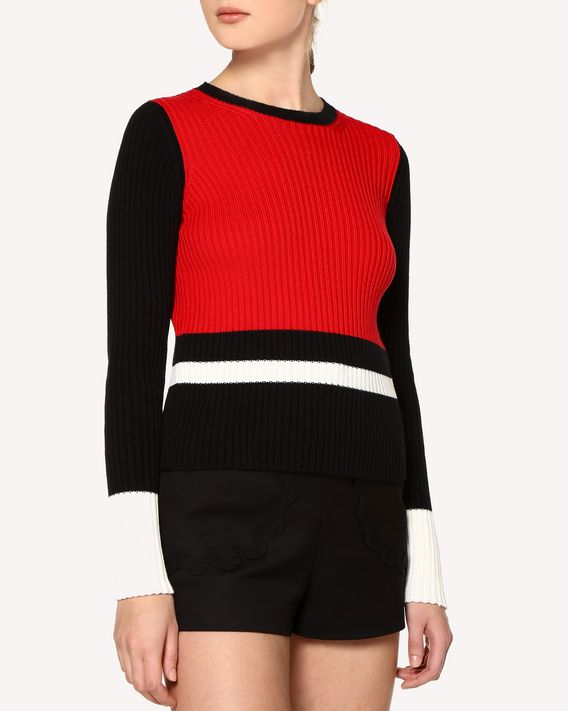 REDValentino Color-block detail cotton sweater