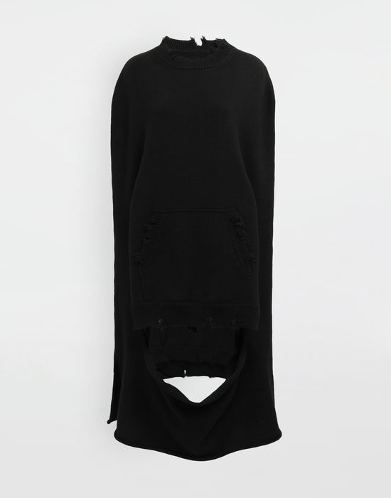 MAISON MARGIELA Décortiqué distressed knit cape Stole [*** pickupInStoreShipping_info ***] f