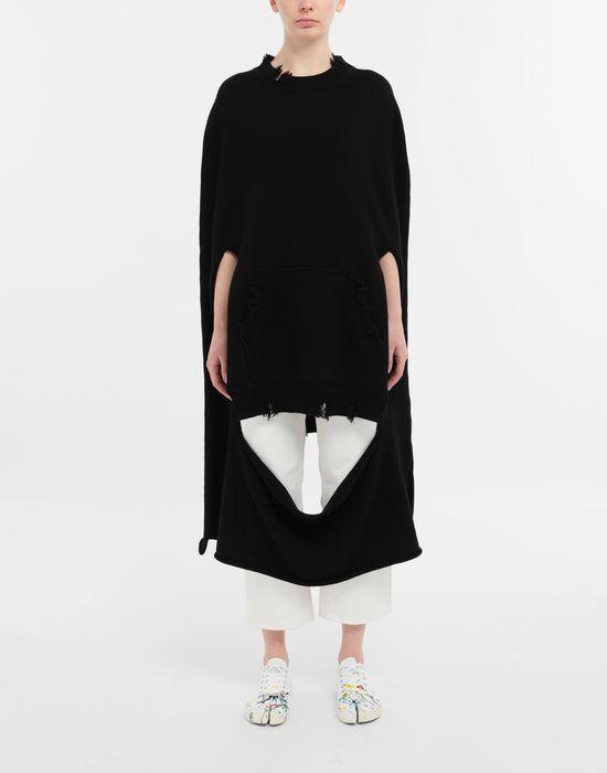 MAISON MARGIELA Décortiqué distressed knit cape Stole [*** pickupInStoreShipping_info ***] r