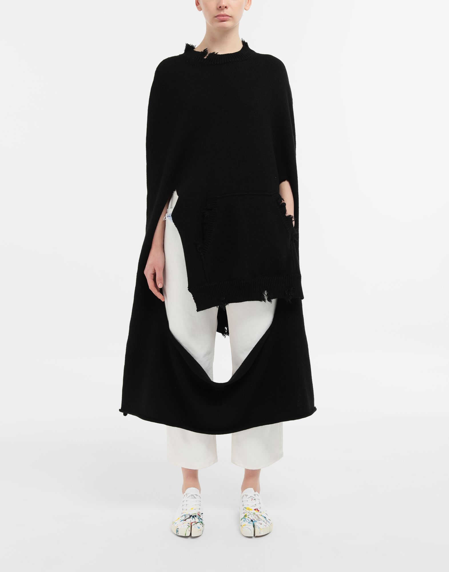 MAISON MARGIELA Décortiqué distressed knit cape Stole Woman d