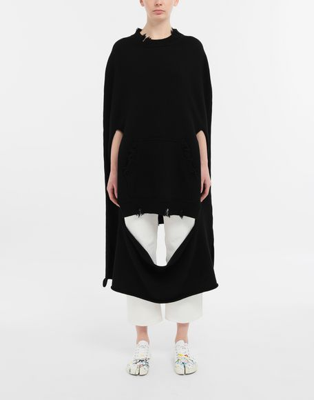 MAISON MARGIELA Décortiqué distressed knit cape Stole Woman r