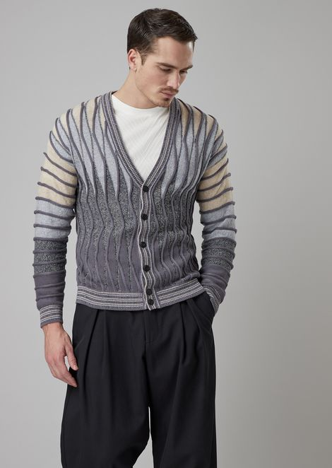 Plain and purl knit cardigan with undulating ripples