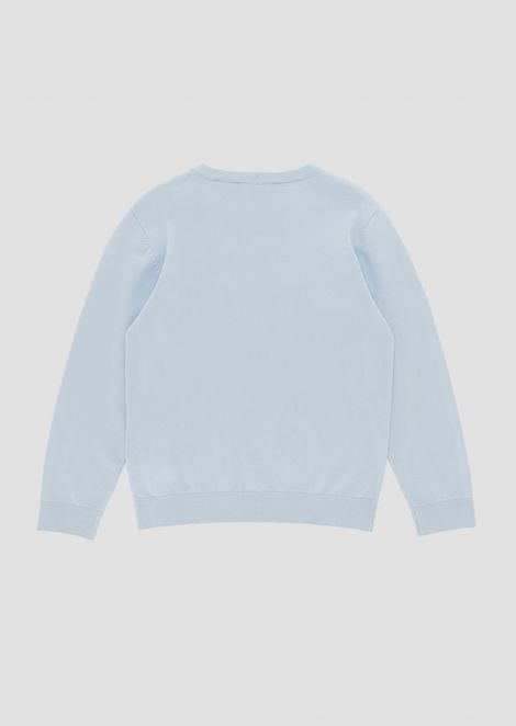 Cotton crew-neck sweater with embossed logo