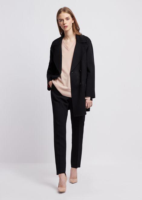 Pure cashmere plain-knit sweater with V neckline