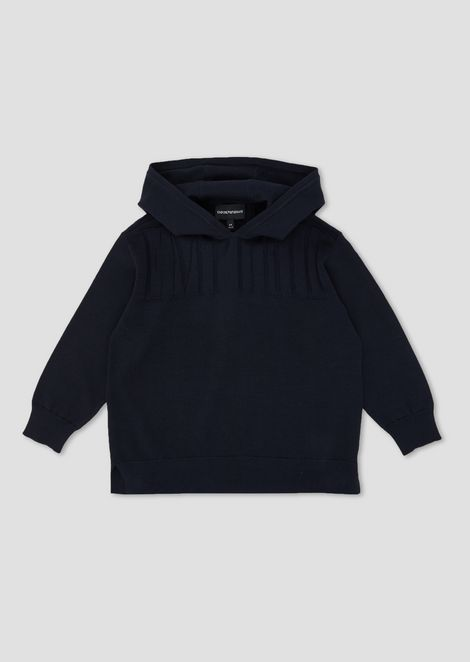 Sweater with hood and embossed logo