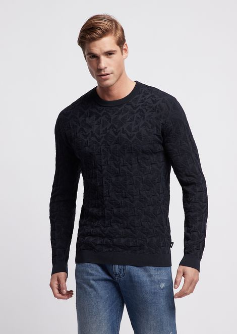 Pure cotton sweater with jacquard monogram