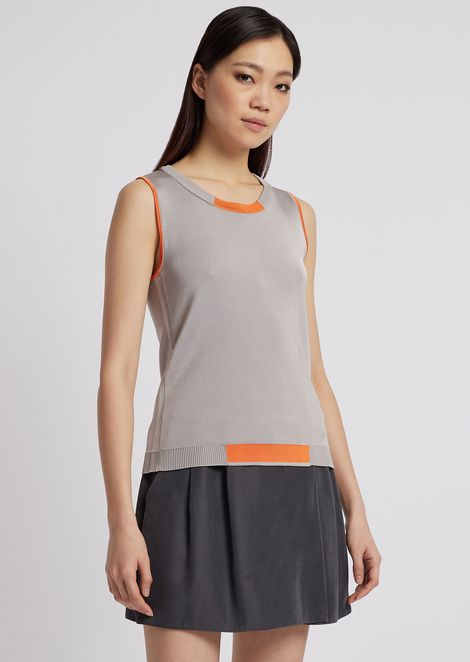 Sleeveless knit top with contrasting details