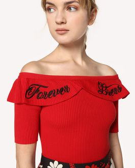"REDValentino ""Forever Lovers"" embroidered cotton knit top"