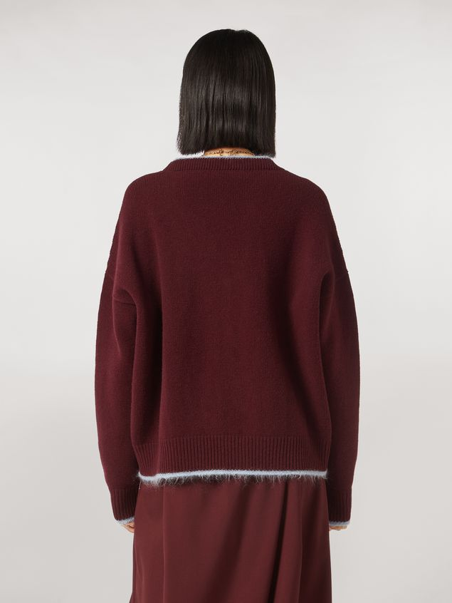 Marni Virgin wool mohair and nylon cardigan with contrasting-colored stripe Woman