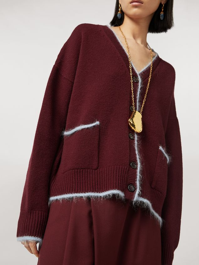 Marni Virgin wool mohair and nylon cardigan with contrasting-colored stripe Woman - 4