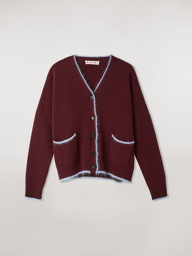 Marni Virgin wool mohair and nylon cardigan with contrasting-colored stripe Woman - 2