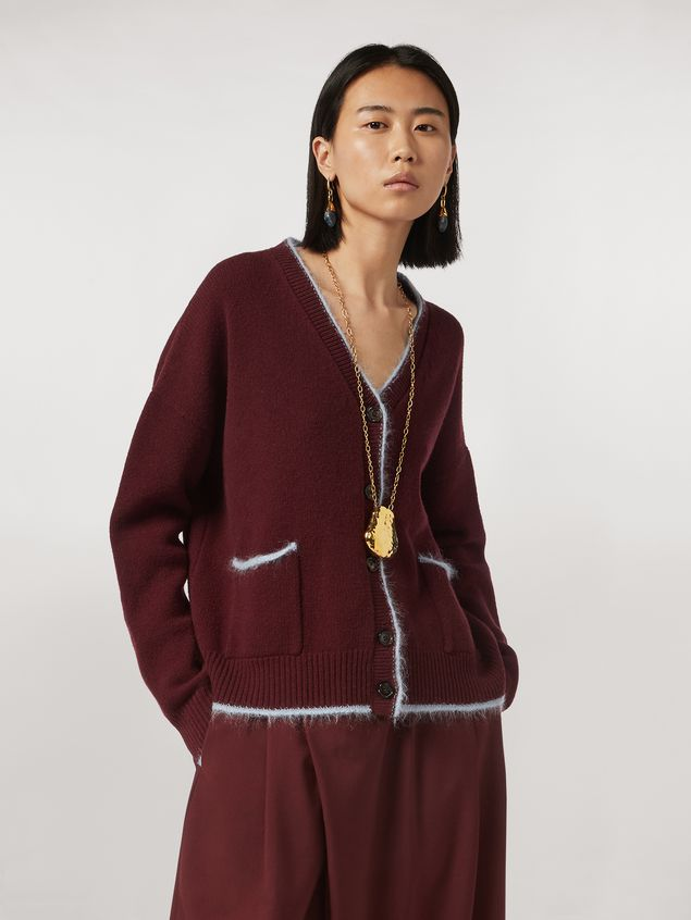 Marni Virgin wool mohair and nylon cardigan with contrasting-colored stripe Woman - 1