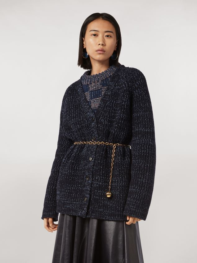 Marni Ribbed cardigan in virgin wool Woman - 1