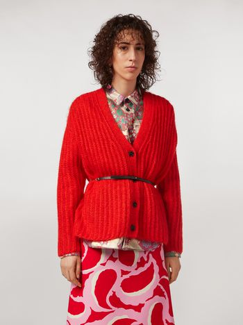 Marni Cardigan a coste in mohair Donna