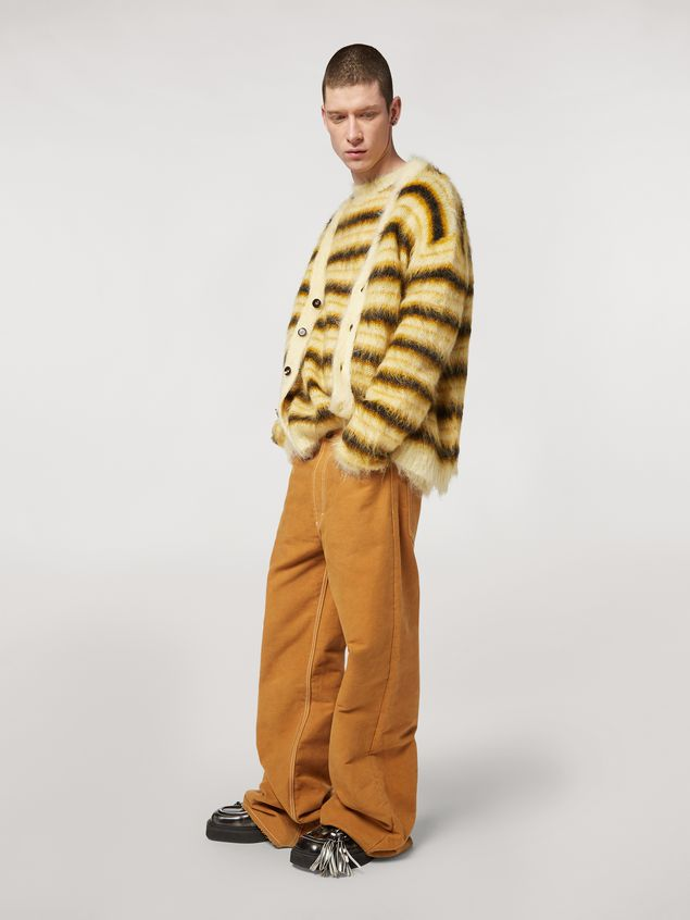 Marni Cardigan in striped gauzed mohair Man - 5
