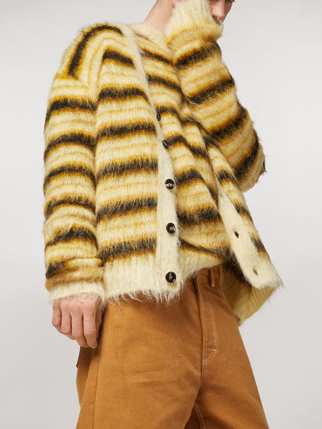Marni Cardigan in striped gauzed mohair Man - 4