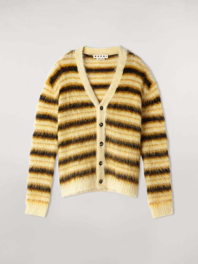 Marni Cardigan in striped gauzed mohair Man - 2