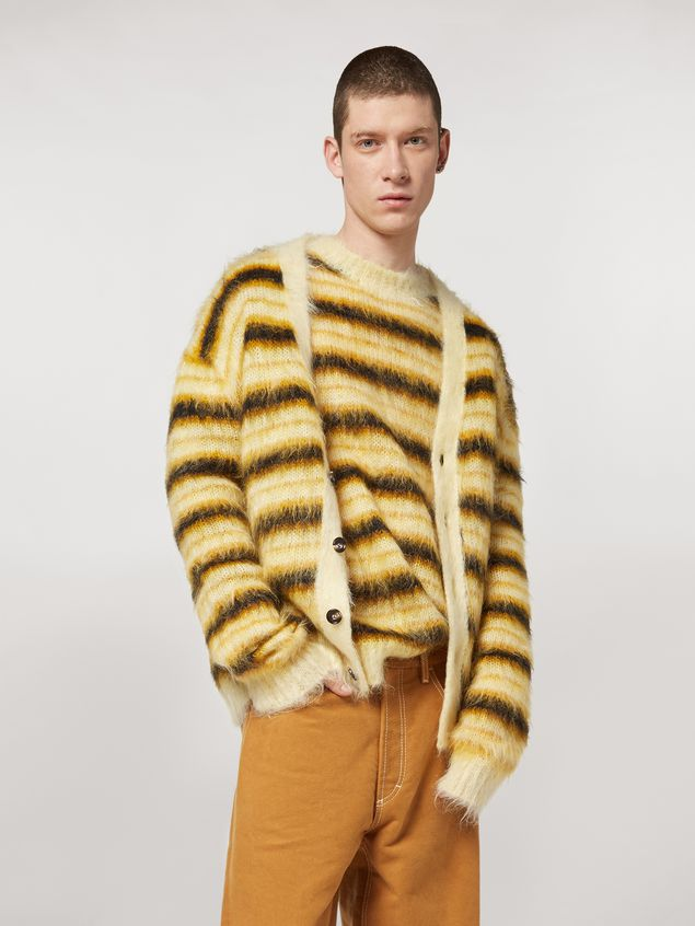 Marni Cardigan in striped gauzed mohair Man - 1