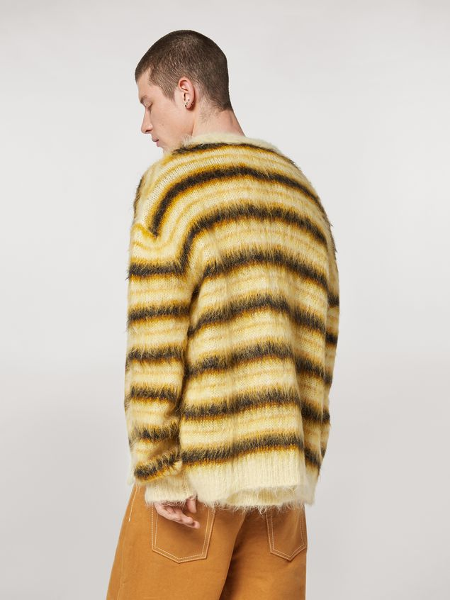 Marni Cardigan in striped gauzed mohair Man - 3