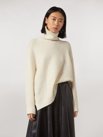 Marni Mixed-stitch turtleneck in cashmere blend Woman f