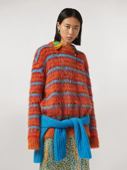 Marni Fur-effect striped mohair sweater  Woman