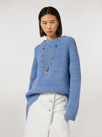 Marni Ribbed crew neck knit in virgin wool Woman f