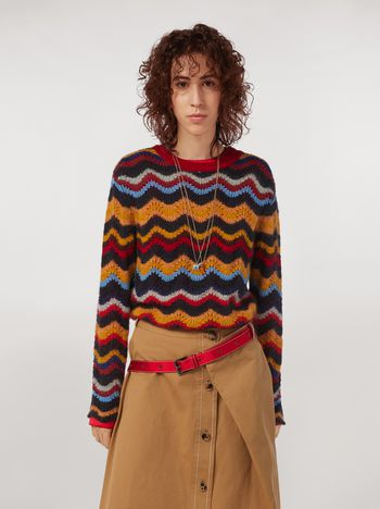 Marni Wool and mohair crew neck sweater with wave motif Woman