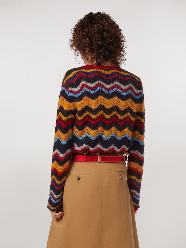 Marni Wool and mohair crewneck sweater with wave motif Woman