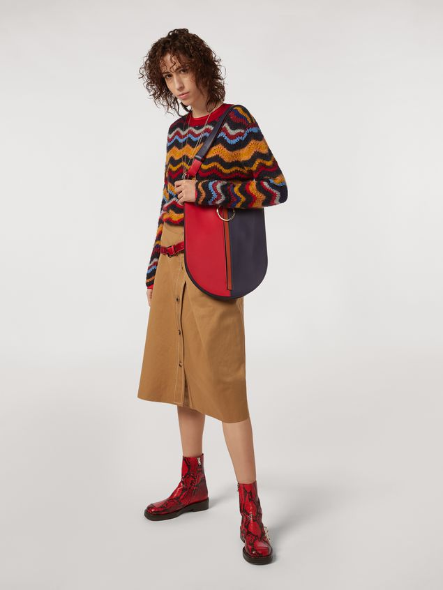 Marni Wool and mohair crewneck sweater with wave motif Woman - 5