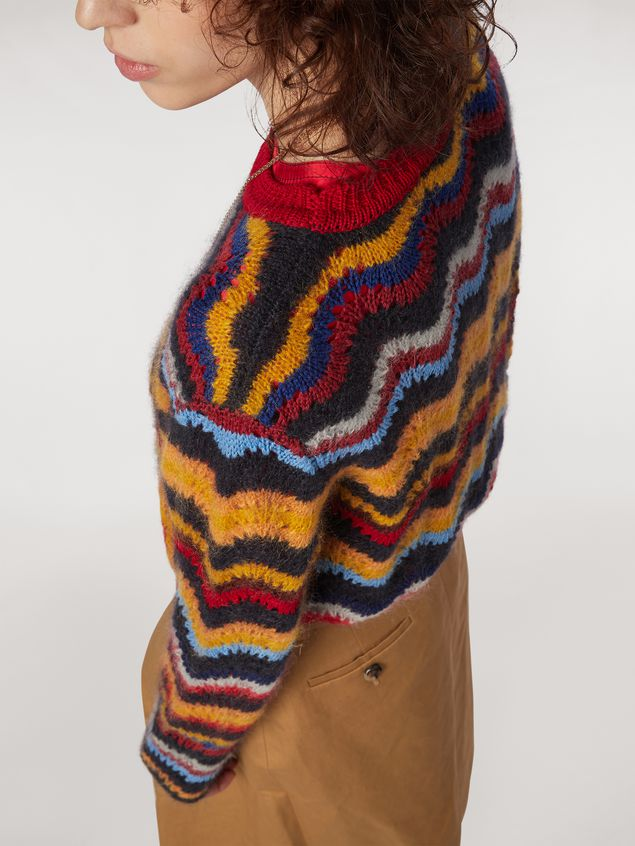 Marni Wool and mohair crew neck sweater with wave motif Woman - 4