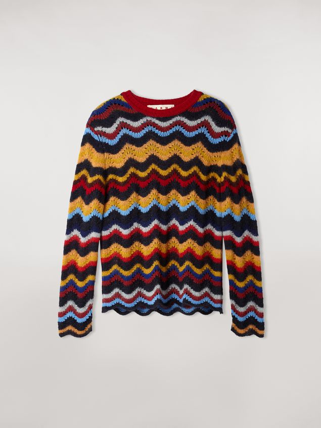 Marni Wool and mohair crewneck sweater with wave motif Woman - 2