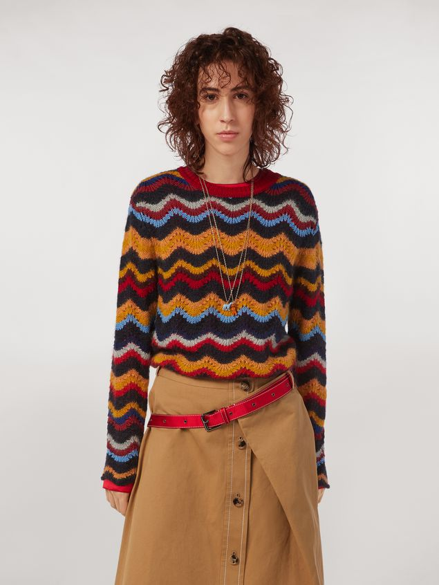 Marni Wool and mohair crew neck sweater with wave motif Woman - 1
