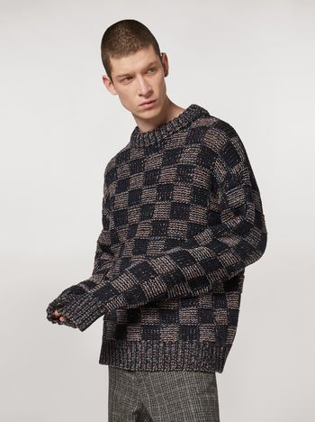 Marni Chequered virgin wool sweater  Man f