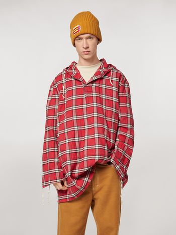 Marni Cotton flannel shirt with hood Man f