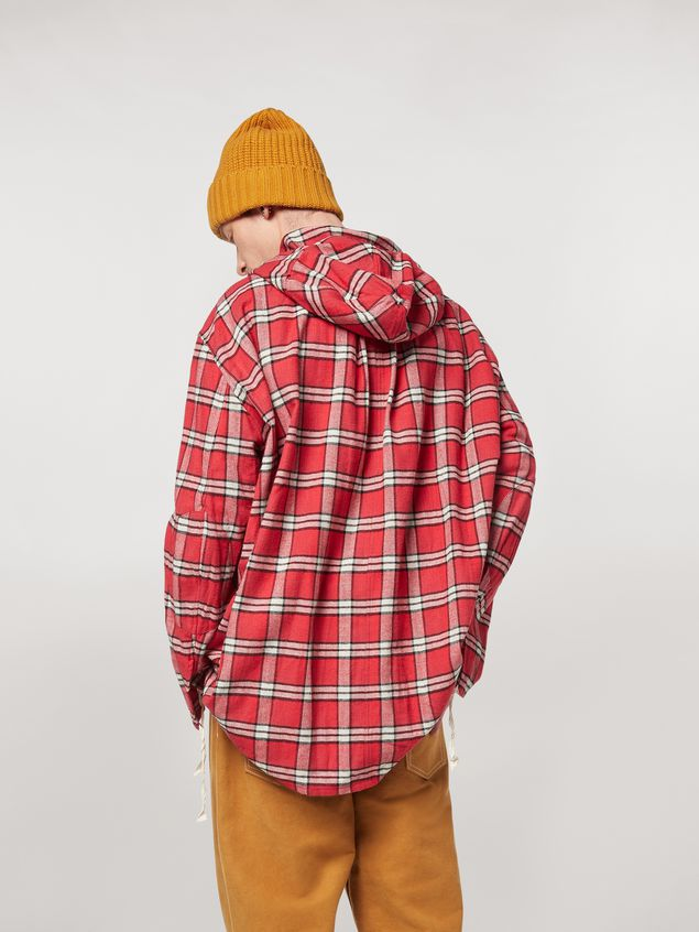 Marni Cotton flannel shirt with hood Man