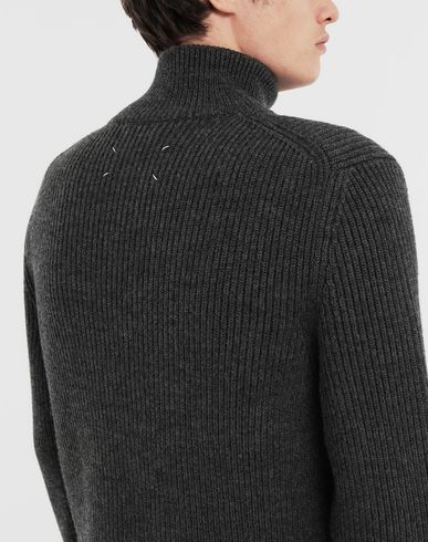 SWEATERS Zip-up ribbed sweater Steel grey