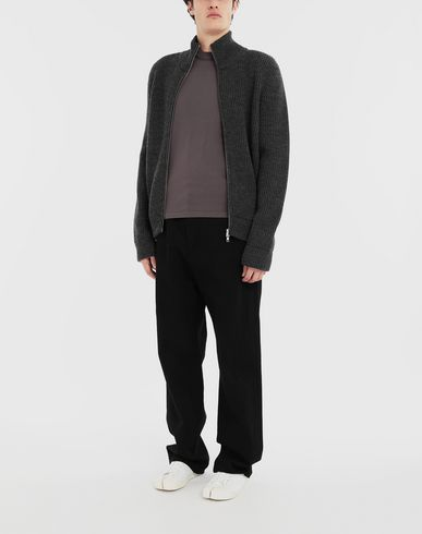 KNITWEAR Zip-up ribbed sweater Steel grey