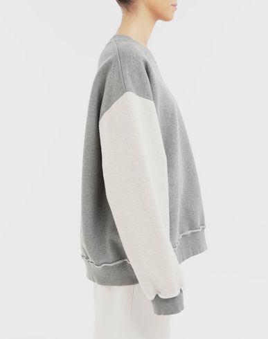 SWEATERS Contrast sleeves sweatshirt Grey